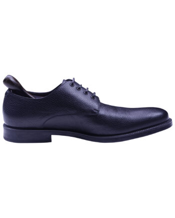 a.testoni Black Color Calf Leather Handmade Lace Up Shoe