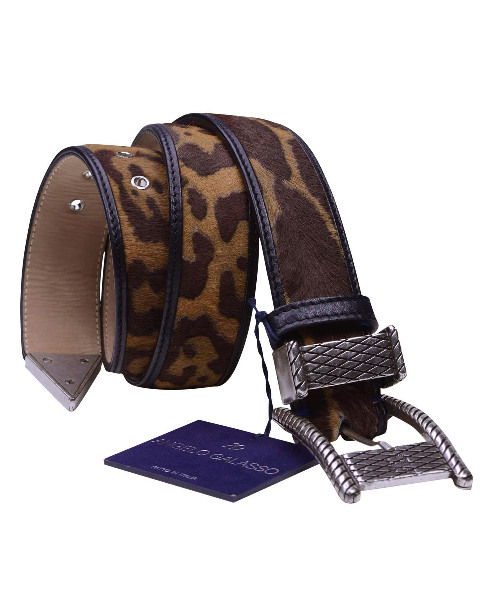 Angelo Galasso Signature Pony skin Palladium - plated Exclusive Belt