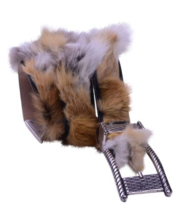 Angelo Galasso Fox Fur Palladium - plated Buckle Leather Belt on Sale in Vancouver