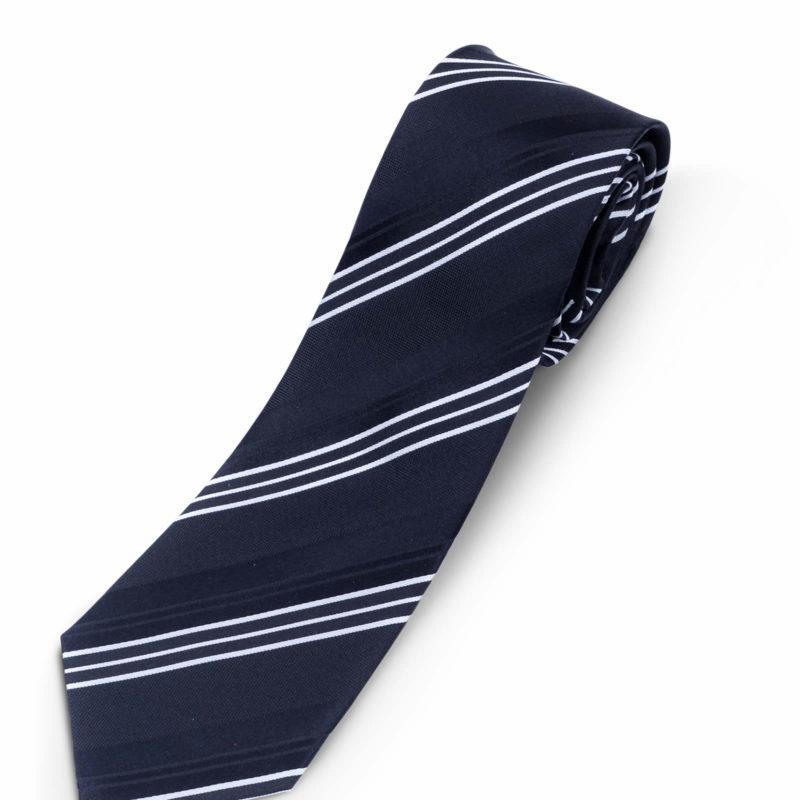 Luciano Barbera Black and White Striped Silk Tie