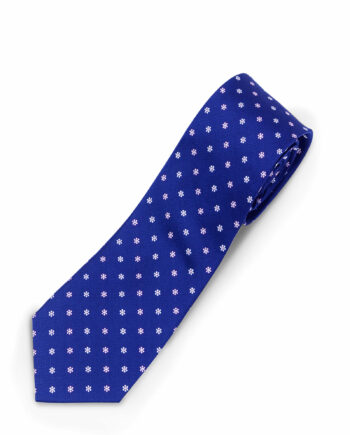 Luciano Barbera Blue white Flowers Silk Tie
