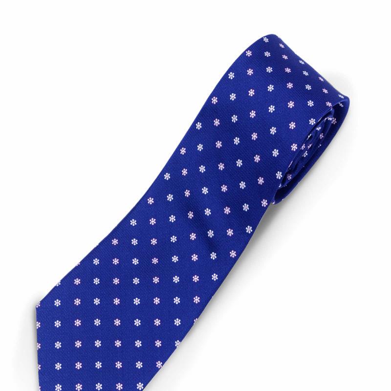 Luciano Barbera Blue white Flowers Silk Tie