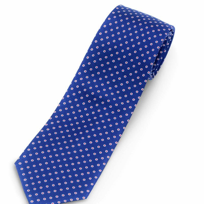 Luciano Barbera Blue red dot Striped Silk Tie