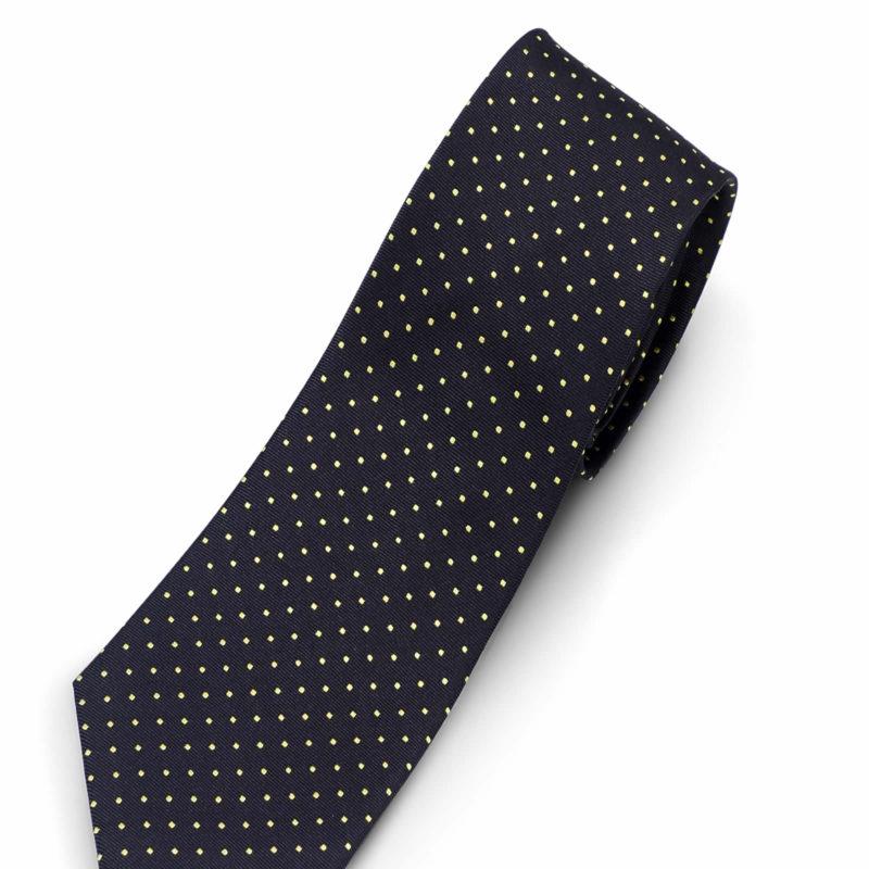 Luciano Barbera Dark Brown Yellow Silk Tie