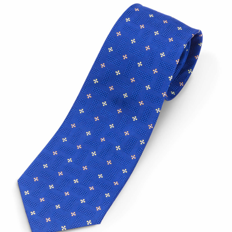 Luciano Barbera Blue Medallion Silk Tie