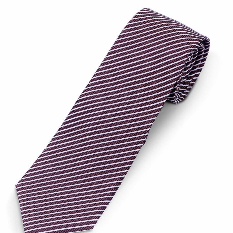 Luciano Barbera Brown White Striped Silk Tie