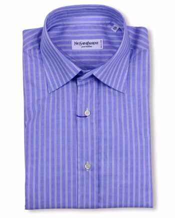 Yves Saint Laurent Designer Blue White Striped Dress Shirt