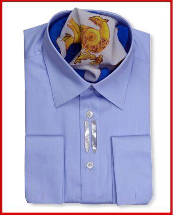 Ferruccio Milanesi Luxury Sartorial Men's Blue Tailored Fit Dress Shirt